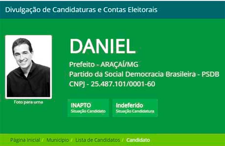 Candidatura de Daniel Valadares à Prefeitura de Araçaí é impugnada