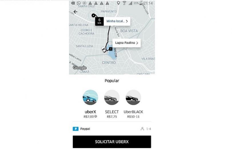 Uber chega a Sete Lagoas