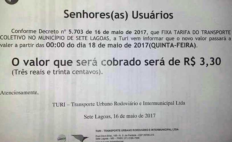 Empresa concessionária já comunicada sobre o reajuste dentro de seus ônibus