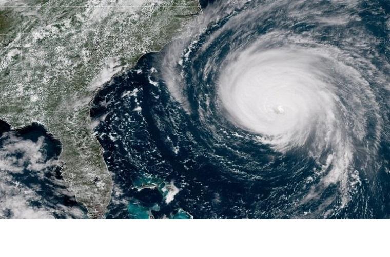 Florence chega mais cedo à costa Leste dos EUA: inicialmente prevista para sábado, a chegada do furacão Florence ao continente está agora anunciada já para esta sexta-feira. (Foto - NOAA)