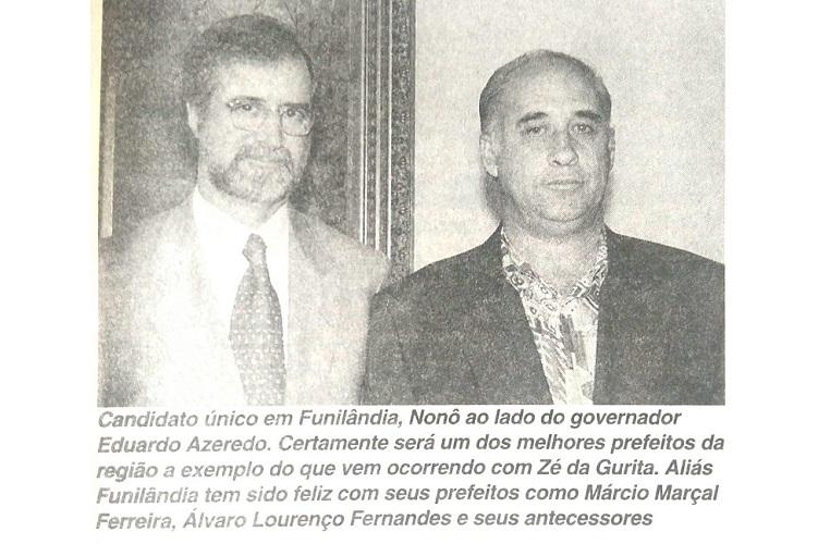 Memória Regional | Adir Marcos Rocha, o 'Nonô', candidato único a prefeito de Funilândia em 1996